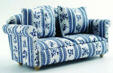 Dolls House Furniture: Blue & White Patterned Sofa : 12th scale miniature