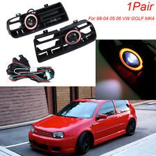 For 98-04 VW GOLF GTI MK4 LED Running Fog Lights Red Angel Eyes Front Grilles#