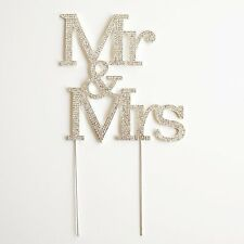 MR and MRS 3 Row Crystal Rhinestone Wedding Cake Topper Bride and Groom USA