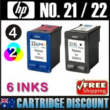 6 Ink Set 4B2C for HP 21XL 22XL DeskJet 3940v D1360 D1400 D1415 D1460 D1468