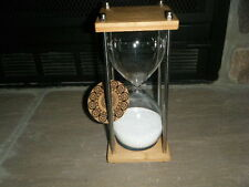"""REAL WHITE SAND HOUR GLASS HALF HOUR 30 MINUTE TIMER 9"""" TALL BAMBOO BASE RARE!!!"""