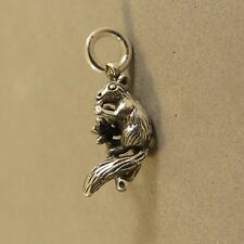 .925 Sterling Silver 3-D SQUIRREL ON BRANCH WITH NUT CHARM NEW Pendant 925 AN92
