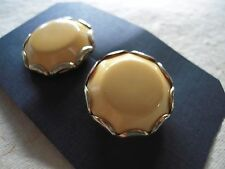 Vintage CLIP Earrings BAKELITE Sunny YELLOW Button Style Tested +