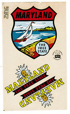Vintage Old  Impko State Window Travel Stickers Decals Maryland The Free State