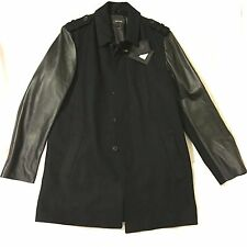NEW MACKAGE NATHANIEL WOOL LEATHER BLACK CAR COAT MADE IN CANADA 44 LARGE