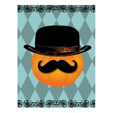 "+PC-Postcard-Halloween-""Pumpkin with Mustache & Hat""  (#231)"