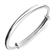 Womens 925 Sterling Silver Jewelry Simple Solid Charm Adjustable Bangle Bracelet