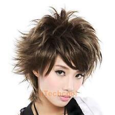 Fluffy Short Curly Light Brown Lady Full Wig New Stylish Short Women Hair W #T1K