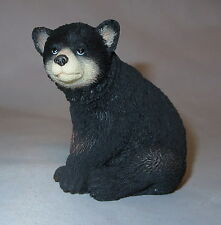 "Black Bear Cub Figurine Sitting Wild Animal Poly Stone 2.75"" High New Wildlife"