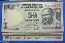 INDIA 50 RS STAR NOTE TELESCOPIC NUMBERING 2016 SERIAL 50 NOTE 9BD 'R' INSET
