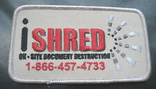 I SHRED EMBROIDERED SEW ON PATCH DOCUMENT DESTRUCTION PAPER