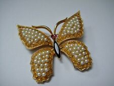 Vintage WEISS Jeweled Butterfly Brooch