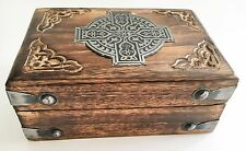 "Wooden Carved Wood Box-Trinket Box/Stash/Jewelry Box 4""x 6""- Metal Cross WB438"