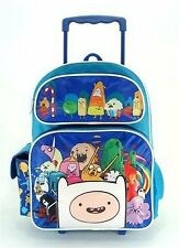 "New Full Size Blue Adventure Time Cast with 3D Finn 16"" Blue Rolling Backpack"