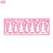 Christmas Tree Lace Silicone Fondant Icing Mould Wedding Cake Decoration Mold