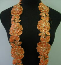 "TL141-5 2.5"" Tier Floral Rose Orange Trims Cord Lace Edging Sew/Bridal/Gown 1Y"