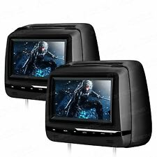 "Twin Dual 7"" HD Car CD DVD Player Pillow Headrest Monitor GAME SD USB IR Black"