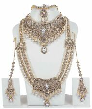 9012 New Indian Bollywood Style White Crystal Pearl Gold Tone Bridal Jewelry Set