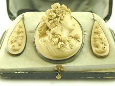 Antique Lava Cameo and drop earrings, in original box. Superb quality