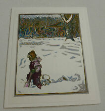 Billy Childish RARE NUMBERED EDITION Girl in snow with tree  ART christmas CARD