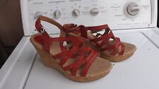 Born b.o.c., Orange Strappy Cork Wedge Sandal, size 9