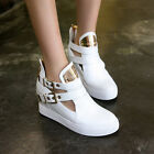 Womens Platform Hidden Wedge Buckle Zip Metal High Heel Trainer Hot Pump Shoes