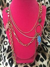 Betsey Johnson Vintage Nautical Pirate Sea Polka Dot Fish Pirate Sword Necklace