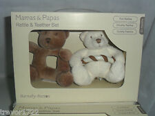 MAMAS PAPAS BABY BARNABY BEAR/BUTTON RATTLE TEETHER SET BNIB NEW IN BOX