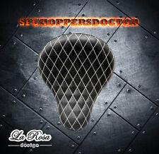 LaRosa 16'' H-D  Chopper Bobber Vinyl Solo Seat BLK w White Stitches Diamond Tuk