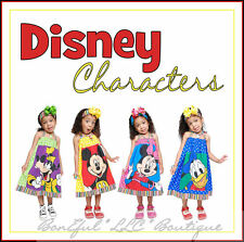 BonEful GIRL CUSTOM DISNEY Fabric Cotton Dress Donald Goofy Minnie Mickey Mouse