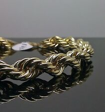 "10K Yellow Gold Rope Bracelet 9mm, 9"" Long Franco, Cuben"