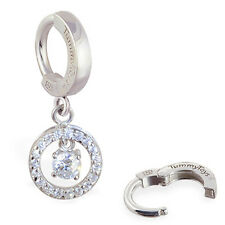 TummyToys Silver Round CZ Belly Button Ring Hot & Sexy snap on body jewelry