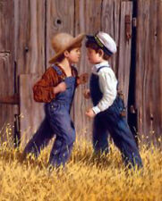The Stand Off by Jim Daly Kid Children Fight Americana Print Poster 11x14