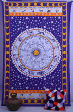 TWIN ASTROLOGY Zodiac Hippie Wall Hanging Indian Tapestry Throw Bedspread Decor