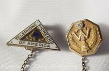 Vintage Telephone Pioneers of America with 14K Gold & Diamond Bell System Pin