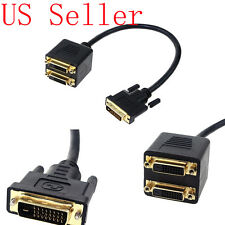 DVI-D Male to 2 DVI-D Female Splitter Adapter Cable Cord Monitor PC Computer