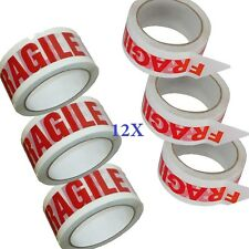 12 X BIG Roll Of LOW NOISE FRAGILE Packing Tape 48mmx66m PACKAGING SEALING TAPE