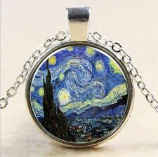 Van Gogh Star Cabochon Glass Tibet Silver Chain Pendant Necklace G15