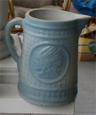 "RARE BLUE & TAN SQUARE OPTIC INDIAN  9"" STONEWARE VINTAGE PITCHER NICE PIECE"