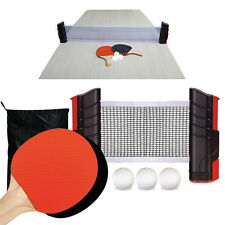 Table Top Tennis Set Extendable Net Paddles Ping Pong Balls Portable To Go Games