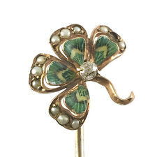 Antique Victorian Enameled Gold, Diamond & Pearl Four Leaf Clover Stick Pin