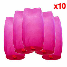 10x Fire Floating Wishing Sky Paper Lantern Wedding Birthday Lamp Love Pink