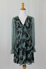 Celia Birtwell Express Mystic Daisy & Posh Dot 100% Silk Long Sleeve Dress 2 XS