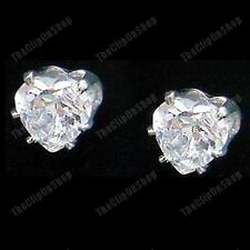 U CLIP ON 6mm HEART CZ CRYSTAL EARRINGS no-pierce studs CUBIC ZIRCONIA silver pl