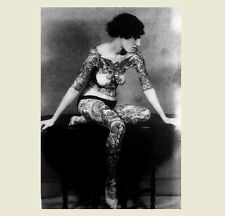 Erotic Tattooed Nude Girl PHOTO Sexy Breasts,Gorgeous Hot Tattoo Woman,1900s Art