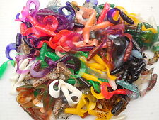 "100 - 2"" Curly Tail Grubs Mixed Plastic Fishing Lures! Crappie, Bream,Trout!"