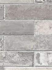 Grey Brick Wall Wallpaper/ Dark Grey Faux Bricks Prepasted Vinyl Wallpaper