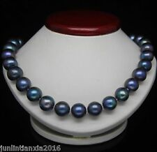 """CHARMING 18"""" 10-11MM TAHITIAN BLACK BLUE NATURAL PEARL NECKLACE AAA"""