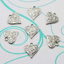 12pcs Heart-shaped Charms Tibetan silver Charm Pendant beaded Jewelry Findings