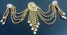 WHITE CZ PEARL GOLD TONE BUN PIN JURA HAIR ACCESSORY INDIAN BRIDAL JEWELRY
